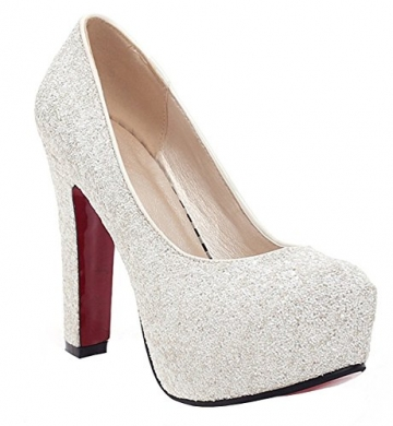 12cm High Ye Chunky Glitzer Plateau Heels Rote Mit Pumps Sohle 77a4tYx