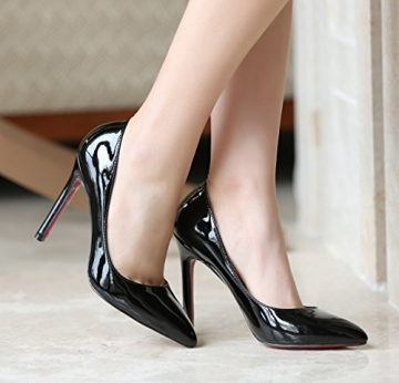 YE Damen Spitze High Heels Stiletto Lackleder Pumps mit Roter Sohle Party Elegant Schuhe -